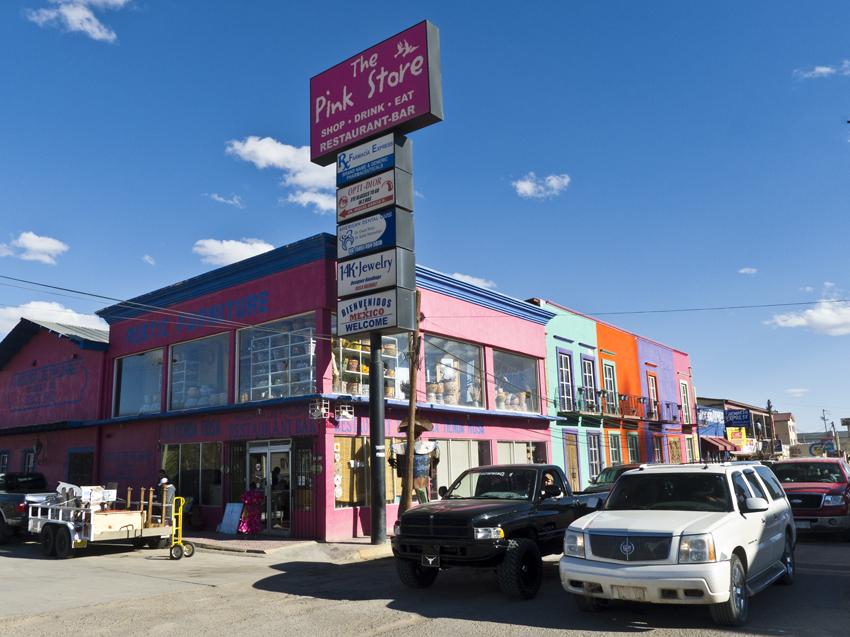 the pink store exterior, palomas, mexico