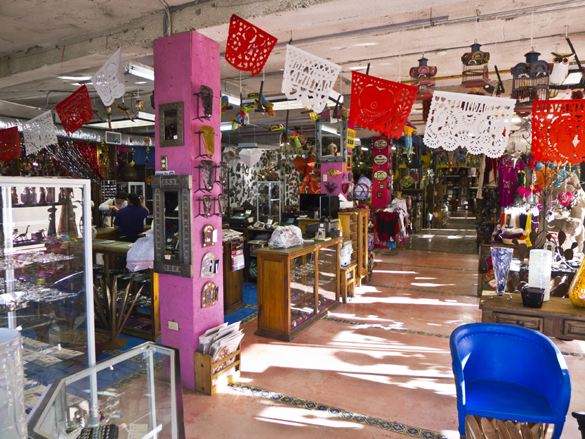 interior of the pink store